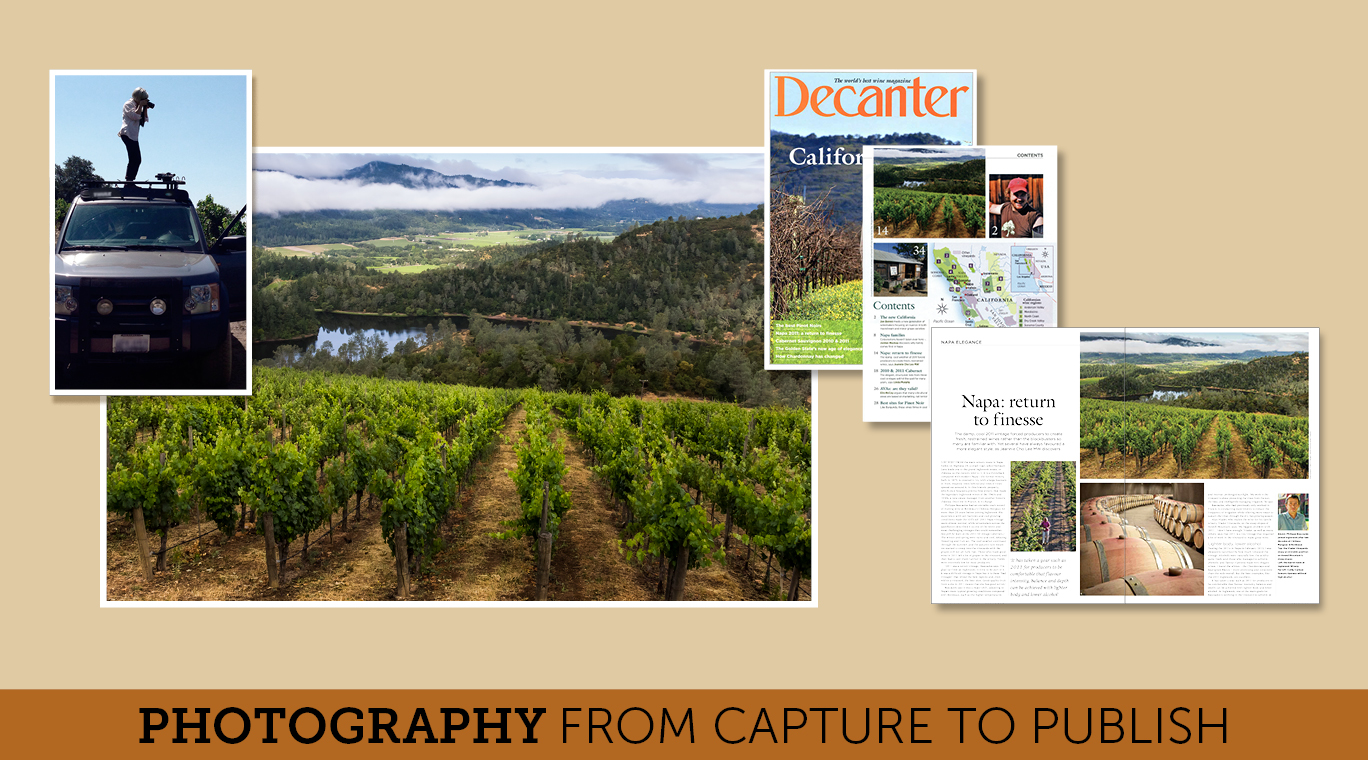 Photography collage from capture to publish: Photo of Cathy O'hagain photographing the vineyard scene; final photograph of the beautiful vineyard; Decanter magazine showing published photograph and its use in the table of contents.