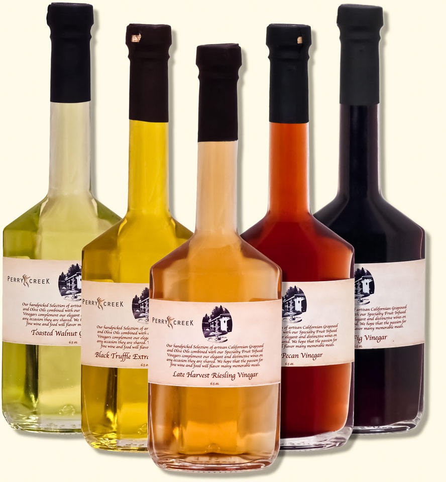 Photography: Product photo of specialty vinegars and oils for a website shopping cart