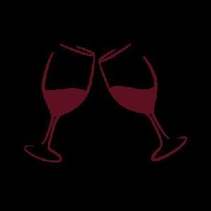 Digital Illustration: 2 Wine Glasses Clinking