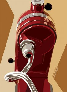 Digital illustration of a kitchen mixer by Cathy O'hagin